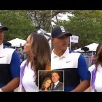 Golfer Brooks Koepka appears to ignore his girlfriend's good-luck kiss